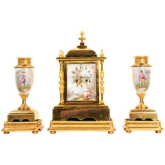 Japy Freres Ormolu and Porcelain Antique French Clock Set - Love