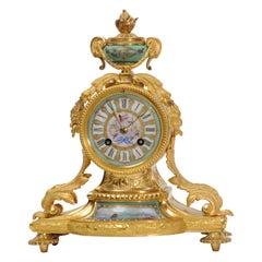 Japy Frères Ormolu and Sèvres Porcelain Antique French Clock Marine Seascape