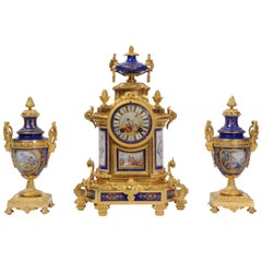 Japy Freres Ormolu and Sevres Style Porcelain Antique French Clock Set