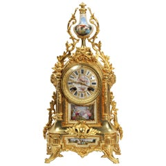 Japy Freres Ormolu and Sevres Porcelain Antique French Louis XVI Clock