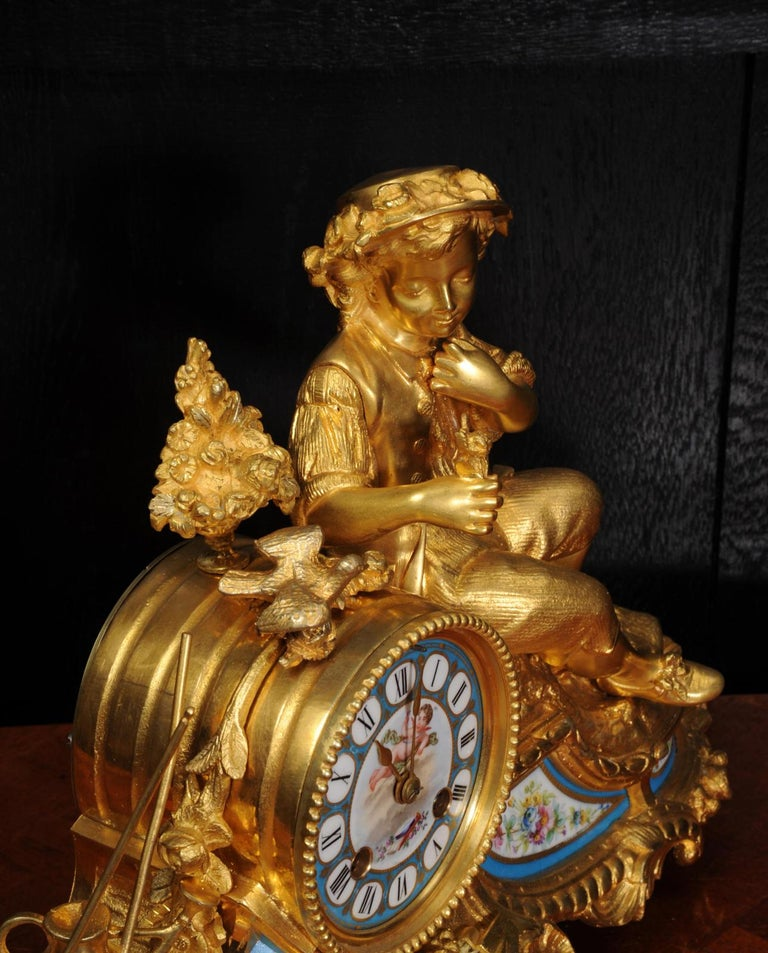 Japy Freres Ormolu and Sevres Porcelain Clock, the Gardener, Antique French 1860 For Sale 6