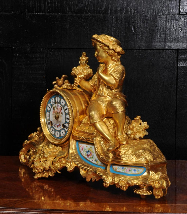 Japy Freres Ormolu and Sevres Porcelain Clock, the Gardener, Antique French 1860 For Sale 7