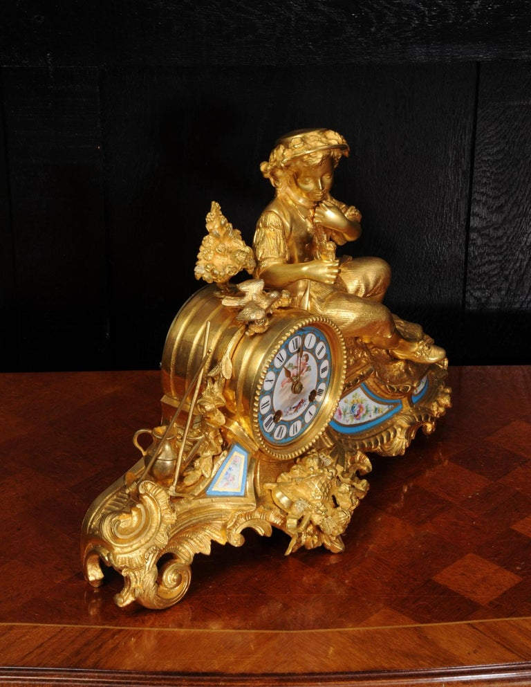 Baroque Japy Freres Ormolu and Sevres Porcelain Clock, the Gardener, Antique French 1860 For Sale