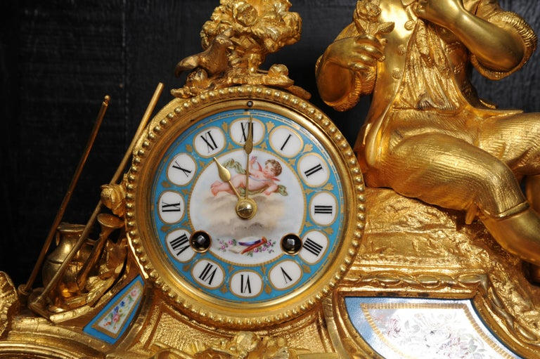 Japy Freres Ormolu and Sevres Porcelain Clock, the Gardener, Antique French 1860 For Sale 4