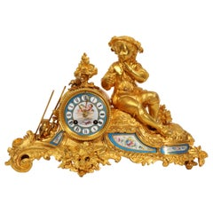 Japy Freres Ormolu and Sevres Porcelain Clock, the Gardener, Antique French 1860