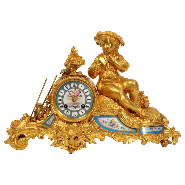 Japy Freres Ormolu and Sevres Porcelain Clock, the Gardener, Antique French 1860 For Sale