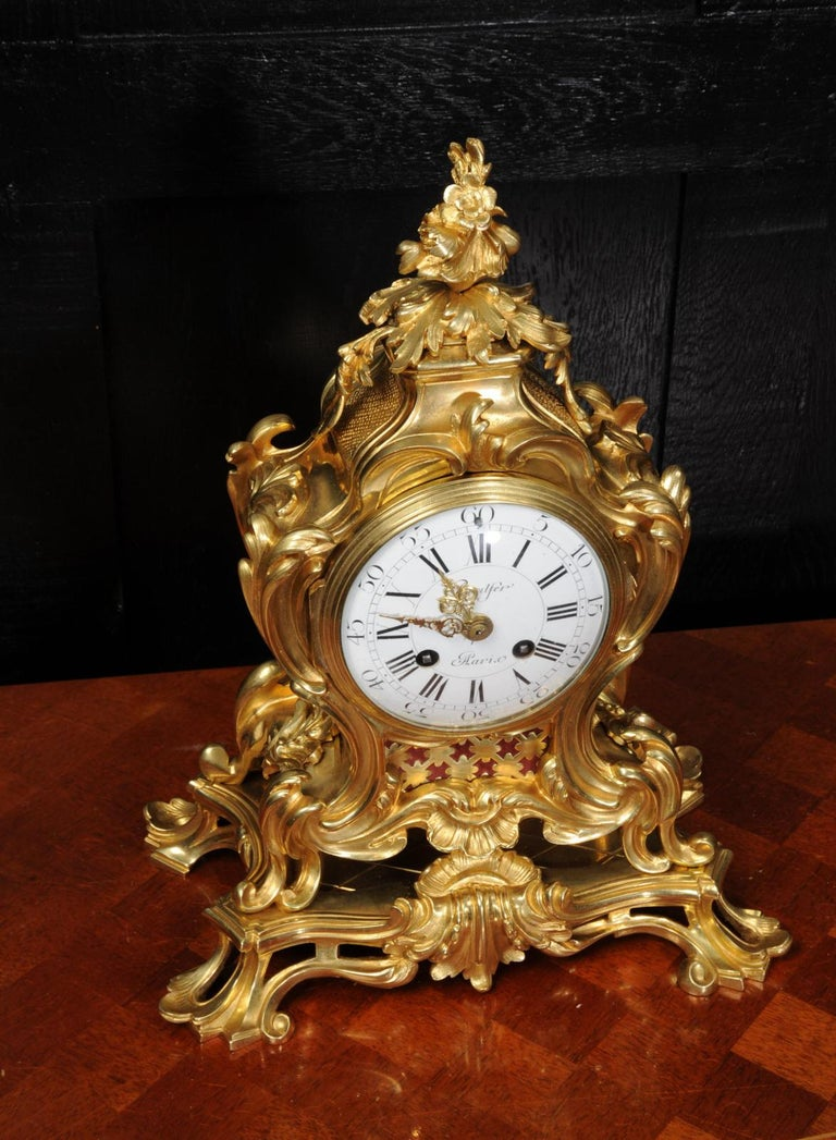 Japy Freres Ormolu Rococo Antique French Clock For Sale 6