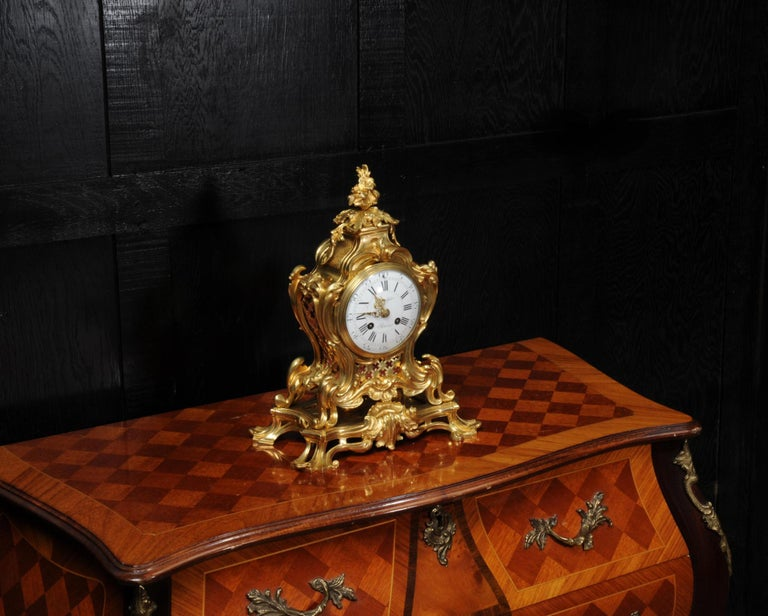 Japy Freres Ormolu Rococo Antique French Clock In Good Condition For Sale In Belper, Derbyshire
