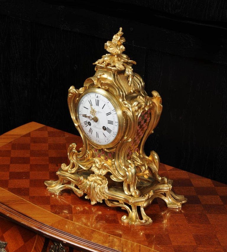 19th Century Japy Freres Ormolu Rococo Antique French Clock For Sale