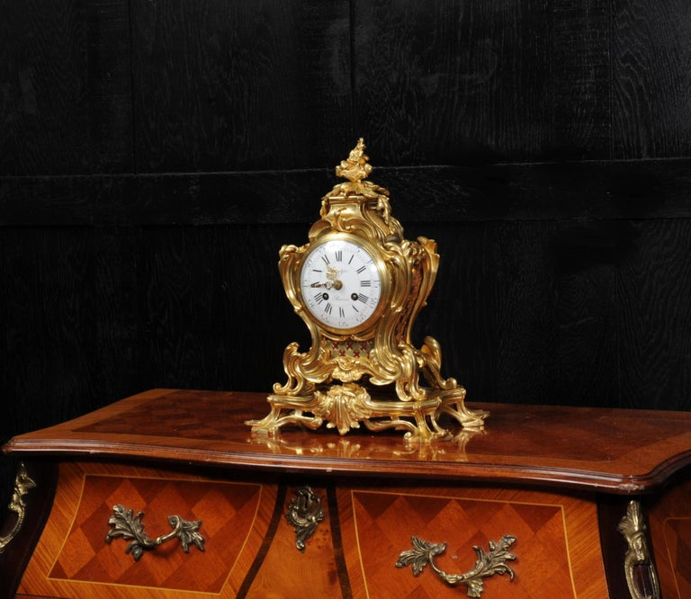 Japy Freres Ormolu Rococo Antique French Clock For Sale 1