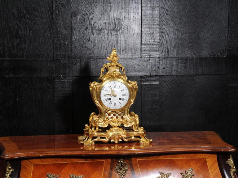 Japy Freres Ormolu Rococo Antique French Clock For Sale 3