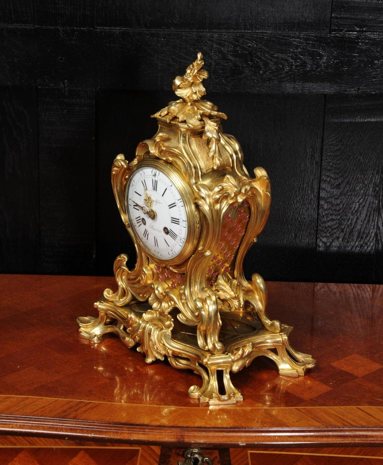 Japy Freres Ormolu Rococo Antique French Clock For Sale 4