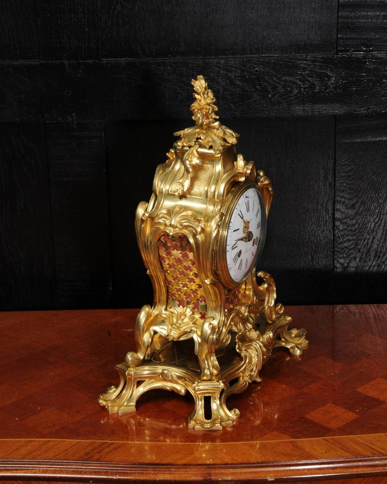 Japy Freres Ormolu Rococo Antique French Clock For Sale 5