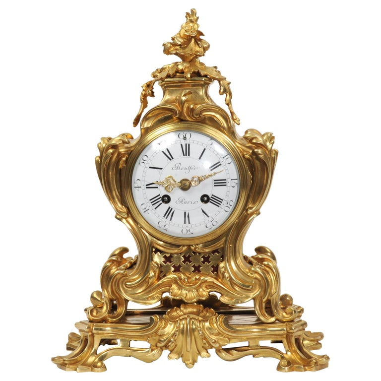Japy Freres Ormolu Rococo Antique French Clock For Sale