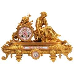 Japy Freres Sèvres Porcelain Gilt Metal Antique Clock, Euterpe Muse of the Arts