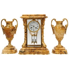 Japy Freres Sienna Marble and Ormolu Crystal Four Glass Antique French Clock Set