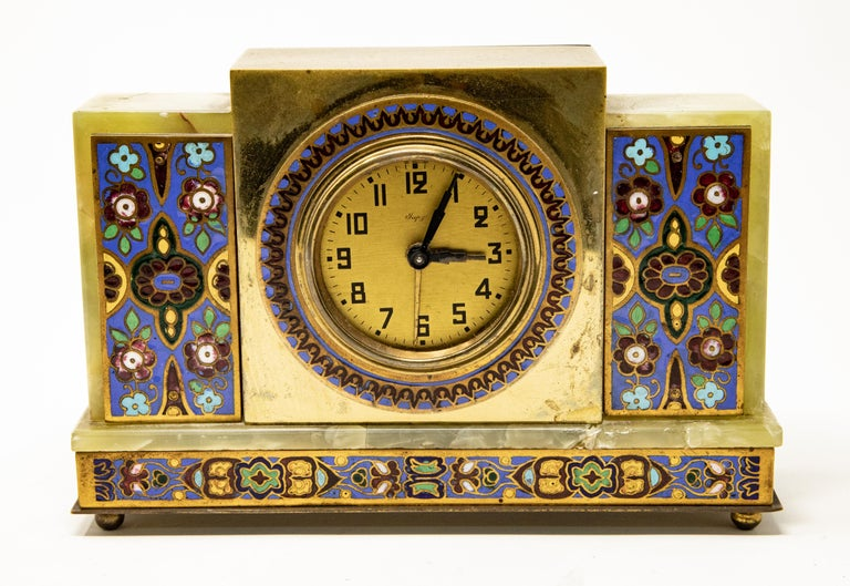 Offering this stunning Japy onyx and cloisonné alarm clock. Made in France. Marked on the back with France, no jewel, no. 21420.