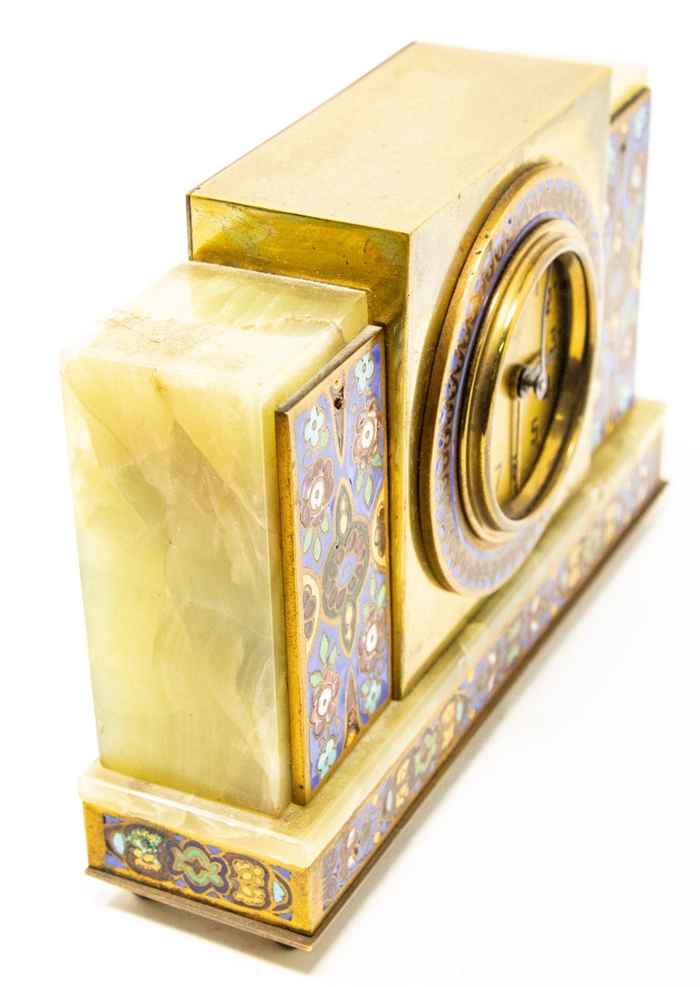 Chinoiserie Japy Onyx and Cloisonné Alarm Clock For Sale