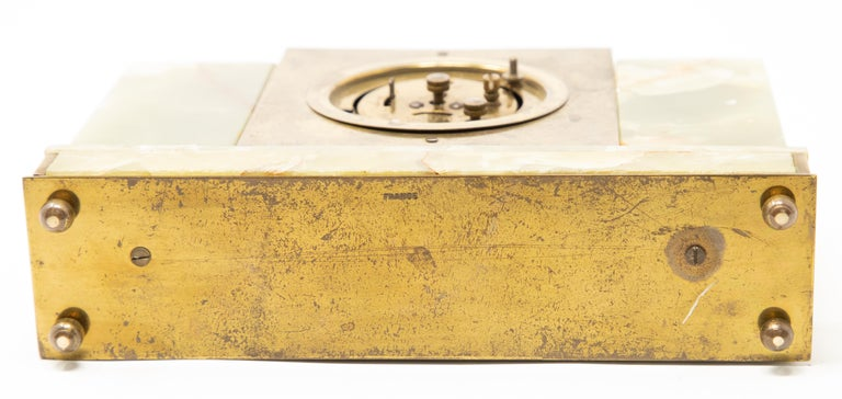 Brass Japy Onyx and Cloisonné Alarm Clock For Sale