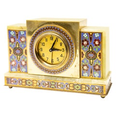 Japy Onyx and Cloisonné Alarm Clock