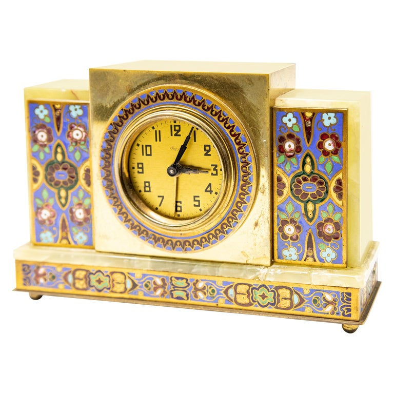 Japy Onyx and Cloisonné Alarm Clock For Sale