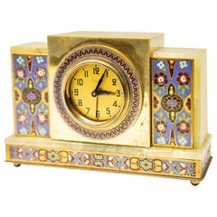 Japy Onyx and Cloisonné Alarm Clock