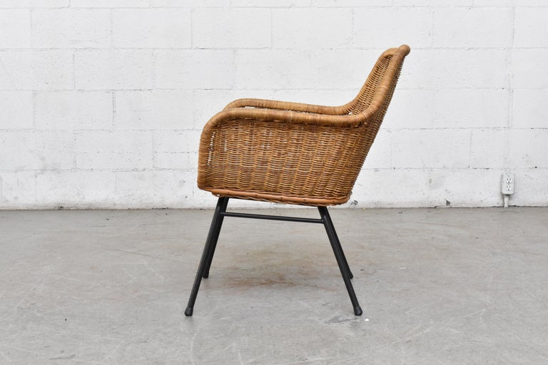 Mid-Century Modern Jaques Adnet Style Midcentury Rattan Bucket Chair For Sale