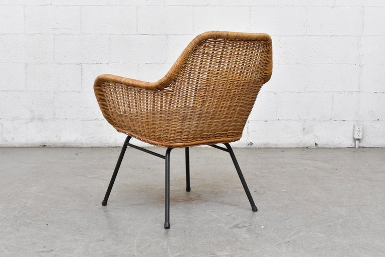 Dutch Jaques Adnet Style Midcentury Rattan Bucket Chair For Sale