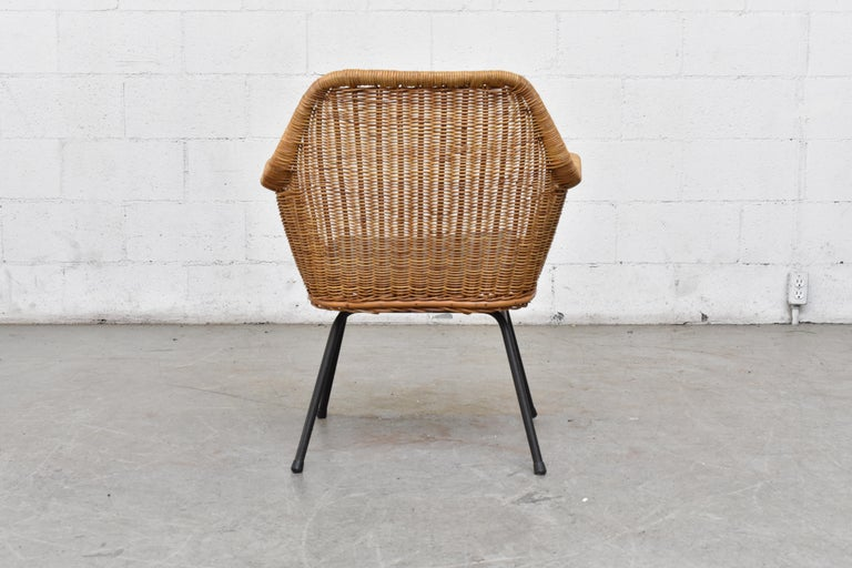Jaques Adnet Style Midcentury Rattan Bucket Chair In Good Condition For Sale In Los Angeles, CA