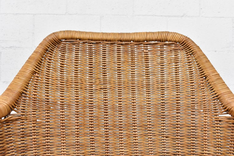 Jaques Adnet Style Midcentury Rattan Bucket Chair For Sale 1