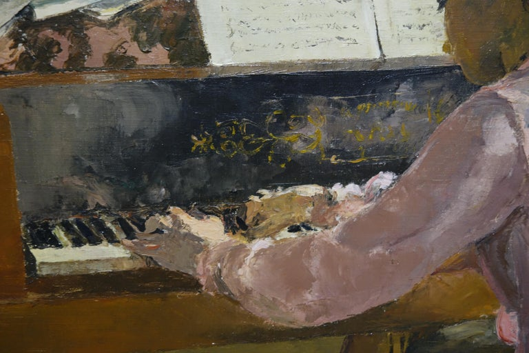 Music,Piano, Pianist,Girl,Pink  Jacques DENIER (Paris, 1894-1983)  After scientific studies, he chooses definitely painting and attends the Ateliers de la Grande Chaumiere, studying with Lucien Simon and René Ménard. He regularly exposes at the