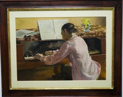 """Jeune fille au piano"" Girl, Piano, Music, Pianist ,cm. 65 x 46, oil,"
