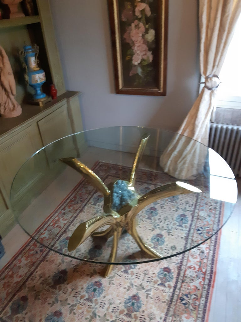 French Jaques Duval Brasseur signed Dining Table, France, 1970 For Sale