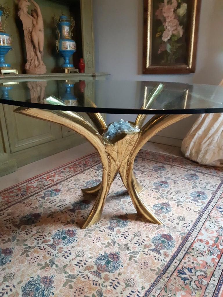 Gilt Jaques Duval Brasseur signed Dining Table, France, 1970 For Sale