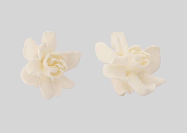 Women's JAR 18k Gold and Resin Gardenia Earrings For Sale