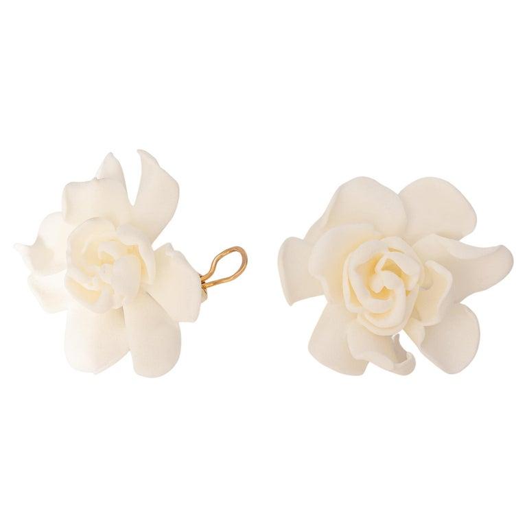 JAR 18k Gold and Resin Gardenia Earrings For Sale