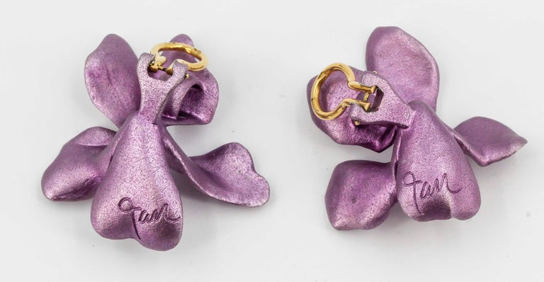Women's JAR Aluminium and Gold Pansy Earclips For Sale