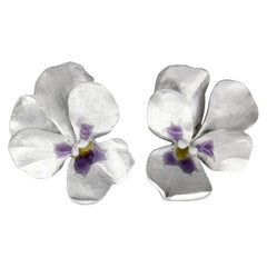 JAR Aluminum and Gold Pansy Earrings