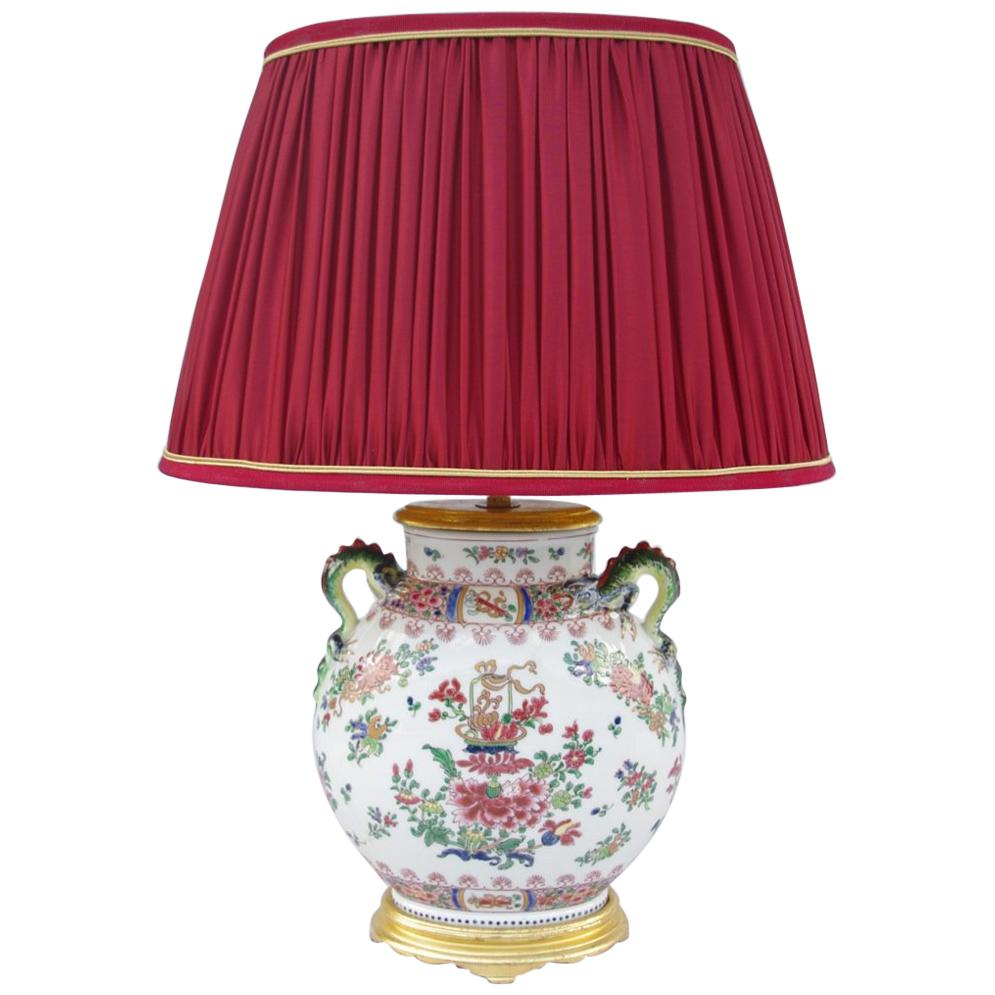 Jar Chinese Porcelain Lamp, Wucai Style Decoration, 18th and 20th Century