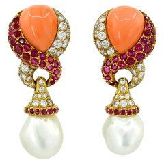 JAR Diamond, Coral, Ruby, Pearl Ear Clips