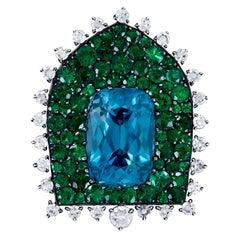 JAR Emerald, Diamond and Zircon Clip-Brooch