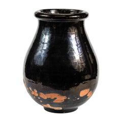 1940s Black Glazed Terracotta Jar