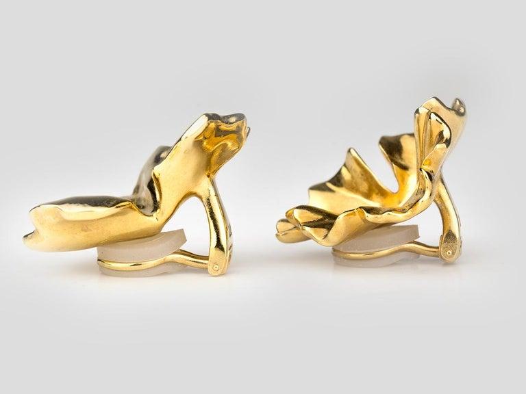 JAR Geranium Leaf Earrings In Excellent Condition For Sale In San Antonio, TX