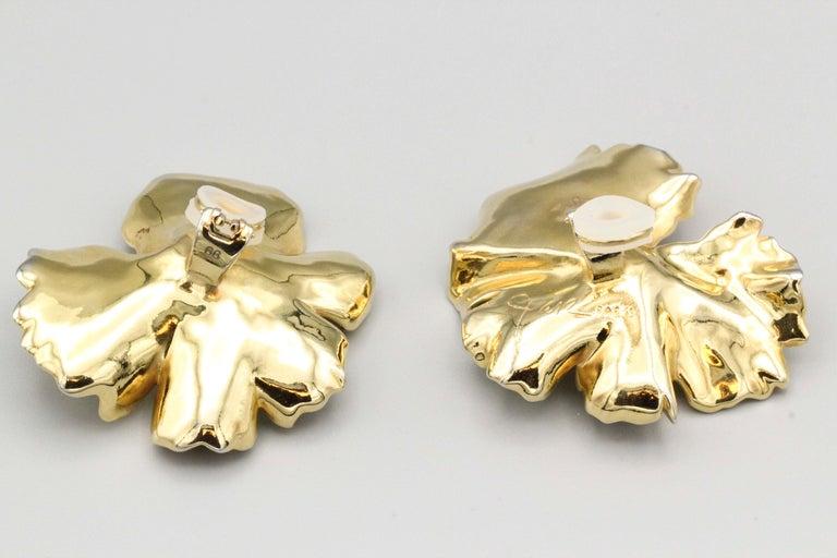 Jar Large Geranium Gold Tone Aluminum Earrings For Sale At