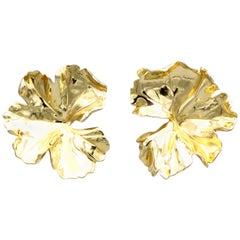 JAR Large Geranium Gold Tone Aluminum Earrings