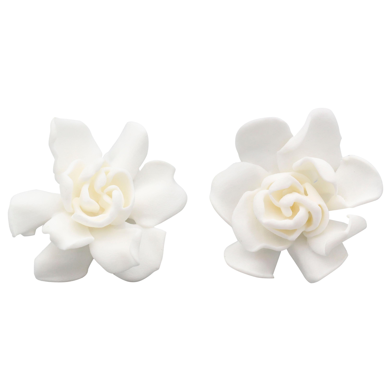 JAR Large White Gardenia Earrings