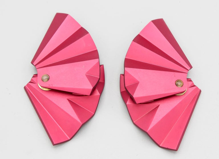 Stylish rose aluminum fan earclips by JAR. Limited edition.  Hallmarks: JAR Paris, Aluminum, 77.