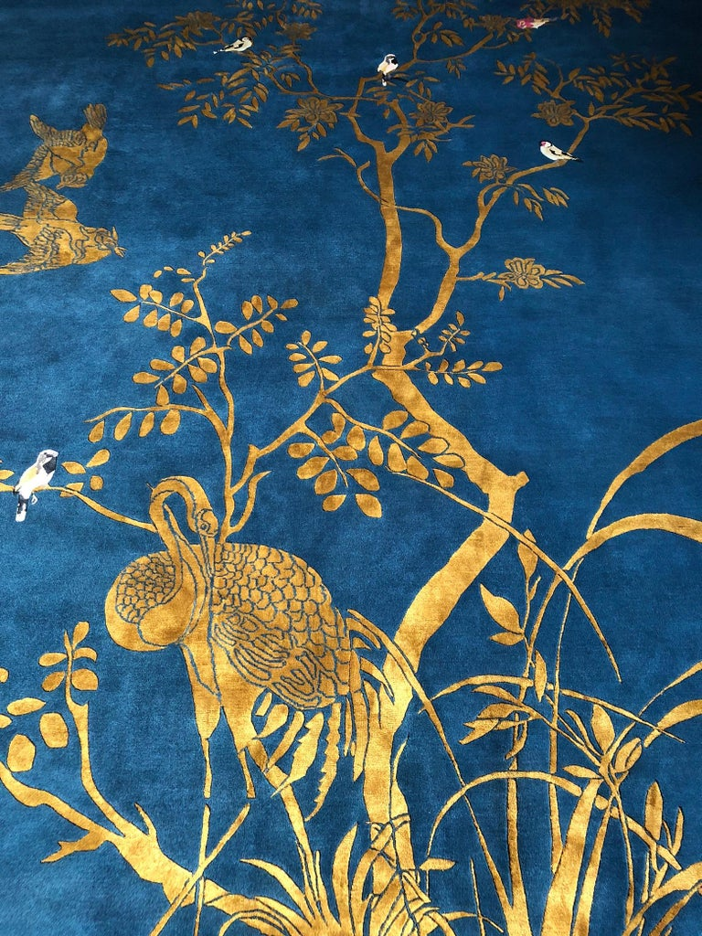 Hand-Knotted Jardin de Chinois Hand Knotted Wool and Silk Rug by Wendy Morrison For Sale