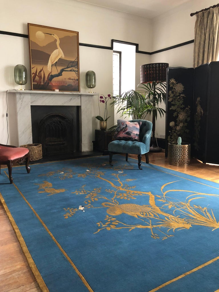 Jardin de Chinois Hand Knotted Wool and Silk Rug by Wendy Morrison In New Condition For Sale In West Barns, East Lothian