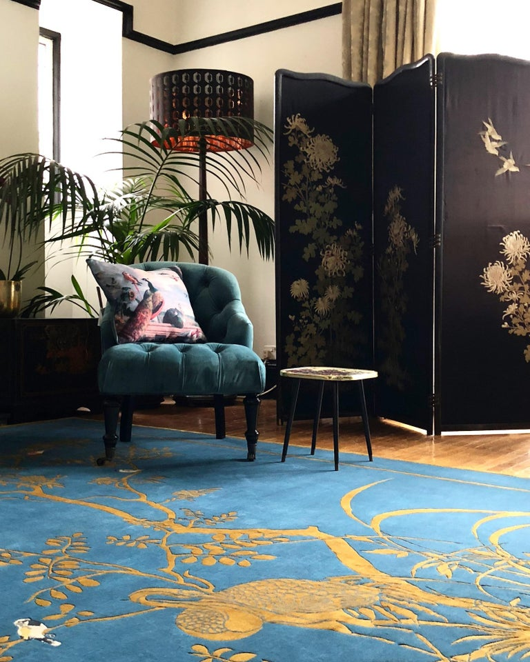 Contemporary Jardin de Chinois Hand Knotted Wool and Silk Rug by Wendy Morrison For Sale